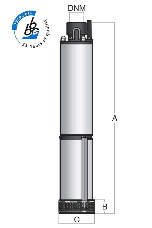 Pompe submersibile SRT seria /400; Qmax = 27 m3/h; Hmax = 52 m